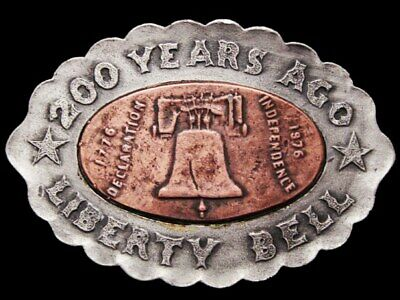 Jh19139 Vintage 1976 **200 Years Ago Liberty Bell** Pewter & Copper Belt Buckle