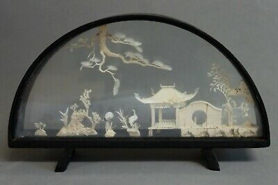 VINTAGE CHINESE ORIENTAL HAND-CARVED CORK ART DIORAMA SCULPTURE  w/ WOOD FRAME