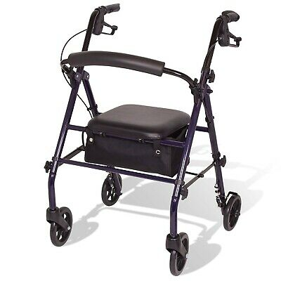 Carex Steel Rollator Walker with Seat and Wheels, Back Support, FREE SHIPPING