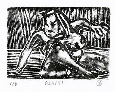 GRAVITY nude/folk/outsider? limited edition relief print J.Swinton Canadian NR
