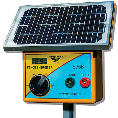 10km SOLAR Power Electric Fence ENERGISER Charger Thunderbird S75B farm livestoc