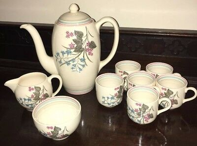 Art Deco Gray's Pottery Coffee Service for 6 Coffee Cans,coffee Pot Sugar Milk