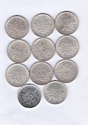 LOT DE 11 PIECES DE 5 FRANCS ARGENT SEMEUSE 1960 à 1969 +2001