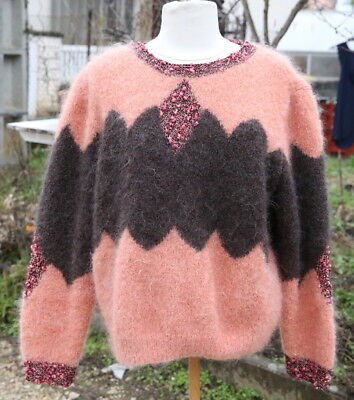 pull vintage laine mohair anny blatt tricot main taille l