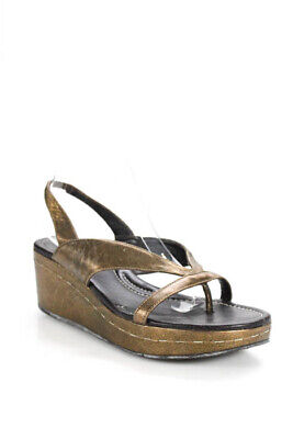 15c78e1f0bf8 Donald J Pliner Gold Tone Leather Slingback T Strap Wedged Sandals Size 9.5
