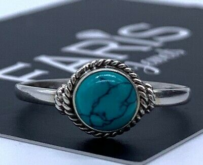 925 Stamped Sterling Silver Ladies Turquoise Round Ring Gemstone Gift
