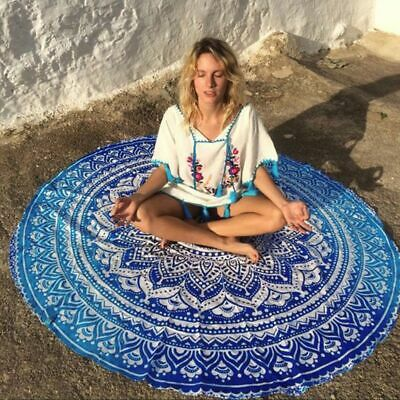 Round Beach Towel With Tassel Printed Pareo Boho Picnic Blanket Tapestry Mandala