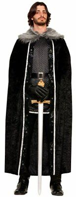 Medieval Knight Cape -Adults Fancy Dress Costume Black Faux Fur Trimmed  - AC581