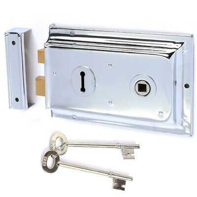 POLISHED CHROME Double Handed Old Victorian Rim Lock & 2 Keys Door Latch 150mm