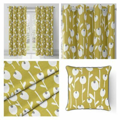 Ochre Eyelet Curtains Mustard Yellow Retro Floral Ring Top Lined Curtain Pairs