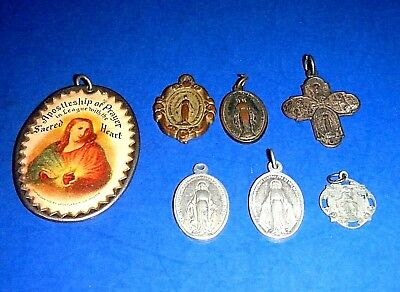 LOT OF VINTAGE Catholic Religeous Medals - Sacred Heart Prayer, Cross & Mary
