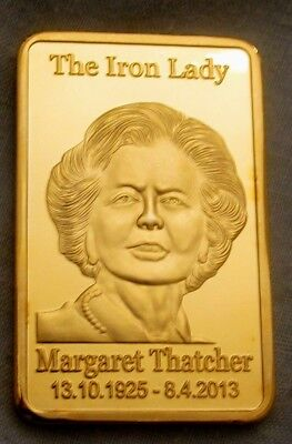 Margaret Thatcher Gold Bar Famous Prime Minister 80s 70s Brexit Troy Ounce Lady
