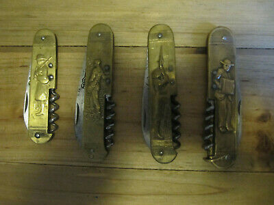 Lot De 4 Couteaux Anciens Figuratif Coursolle Differents
