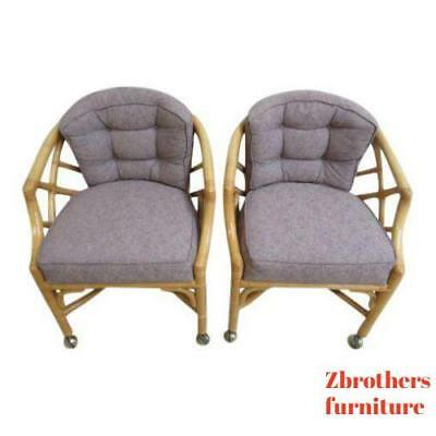 Pair Vintage Ficks Reed Rattan Bamboo Arm Chairs  A