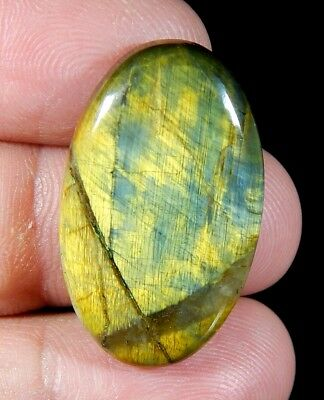 26 Ct Natural Golden Blue Lion Skin Pietersite Agate Oval Cabochon  Gemstone A25