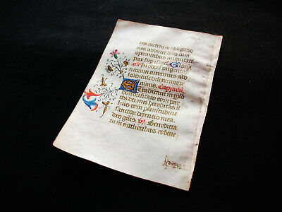 1420 Amazing ILLUMINATED MEDIEVAL MANUSCRIPT on VELLUM, Latin Book of Hours..B02