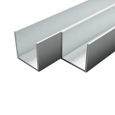 vidaXL 4x Aluminium Channels U Profile 1m 10x10x2mm Tube Extrusion Strip Bar