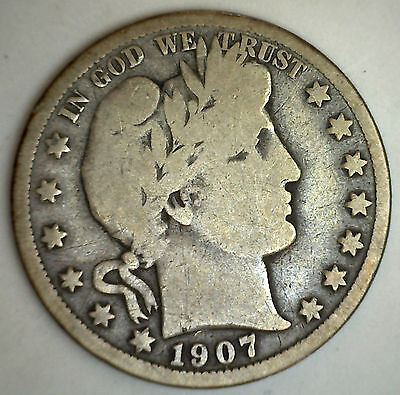 1907 D Barber Half Dollar Silver Type Coin Good Denver Fifty Cents 50c (G)