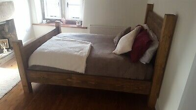 Chunky Rustic Solid Wood Plank Bed Various Sizes