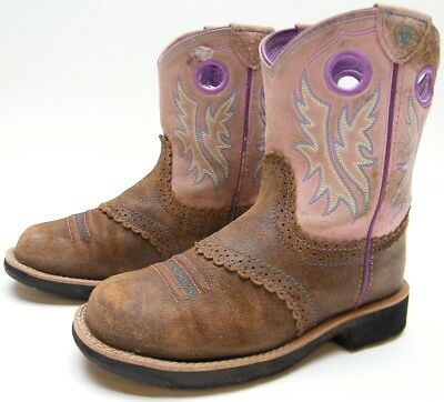 20ca78358cd ARIAT FATBABY GIRLS Kids Youth 10008723 Brown Leather Cowboy Western Boots  Sz 2