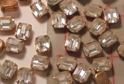 144 Vintage Octagon Glass Rhinestones With Brass Setting 10 x 8mm Czechoslovakia