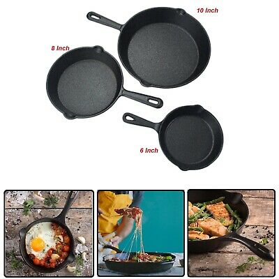3 Cast Iron Skillet Pre Seasoned 6 8 10 Inch Oven Fry Pan Cookware Set 3-Piece