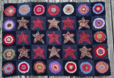 STARS AND PENNIES Large Primitive Rug Hooking Kit with Cut Wool Strips