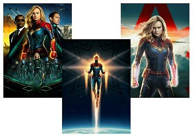 Marvel Comics: Captain Marvel, Nick Fury,  A5 A4 A3 Textless Movie Poster