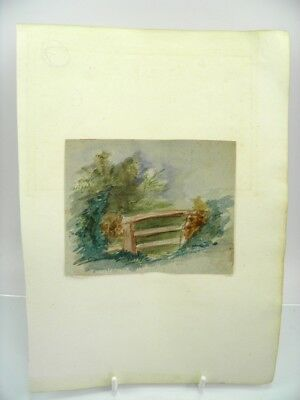 Antique 19th century English School watercolour painting rural gate study