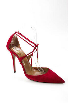 19e9b0c38f8f Aquazzura WOmens Stiletto Heel Pointed Toe Strappy Pumps Red Suede Size 38
