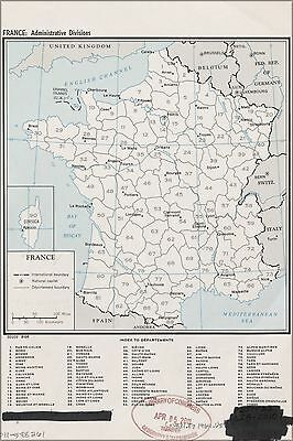 Poster, Many Sizes; Cia Map Of France, Admin. Divisions 1964