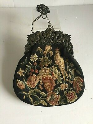 Rare Antique Tapestry French Petit Point Purse 800 Silver Frame w Belt Clasp