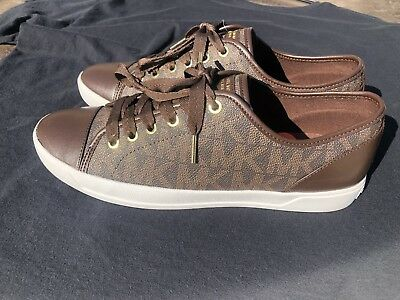 16a683af0dfa New Women s Michael Kors Brown City Signature MK Logo Lace Up Sneakers Size  9.5