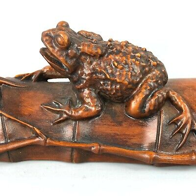 Antique Collectible Old Boxwood Handwork Toad & Spider Japanese Netsuke Statue