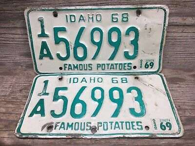 1968 IDAHO License Plate Collectible Vintage Matching Pair Set 1969 Ada County