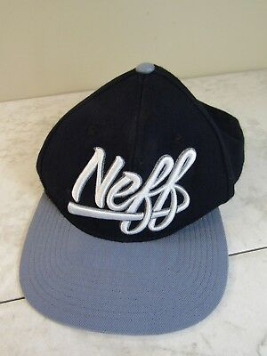 4503cf1a13f56 NEFF Wool Blend Black Logo Trucker Hat Cap Snap Back Adjustable One Size