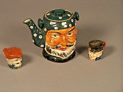 1 Tea Pot & a Set of Salt & Pepper Shakers Hand Painted - Made in Japan