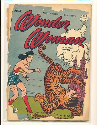 Wonder Woman # 15 Poor Cond. cover detached & completely split brittle cover