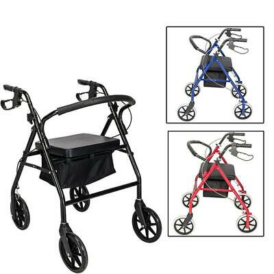 Heavy Duty Extra Wide Bariatric Rollator Rolling Walker with Padded Seat