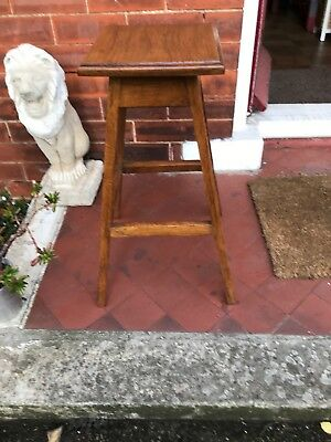 A Industrial Early Oak Plant Stand Stool
