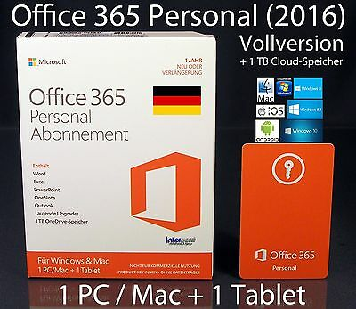 Microsoft Office 365 Personal (2016) Vollversion Box 1 PC/Mac + 1 Tablet Abo