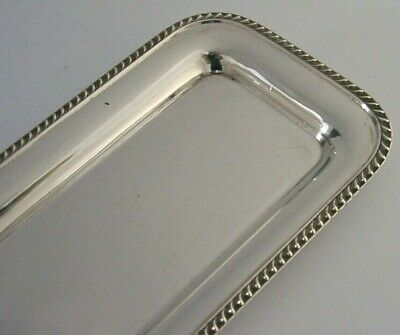 QUALITY ENGLISH SOLID STERLING SILVER PEN DESK TRINKET TRAY 1996 124g