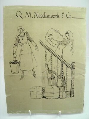 20th century pen & ink drawing portrait Queen Mary Nurses at work