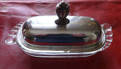Rogers Bros. 1847 Silver Plate, Silverplate Top, Glass Bottom Butter Dish