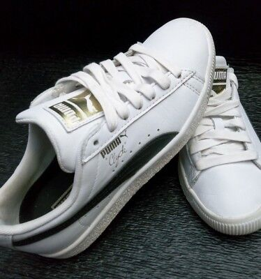 55996477973 PUMA Clyde Core L Foil Sz 4 C Youth White Black Leather Sneakers Shoes