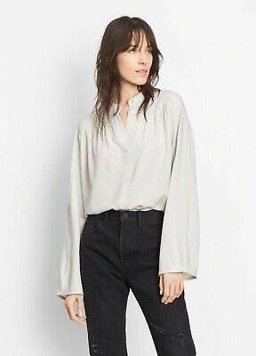 05658351d901b1 Vince Shirred Full Sleeve Split-Neck Silk Blouse Silver - XSmall - NWT $345