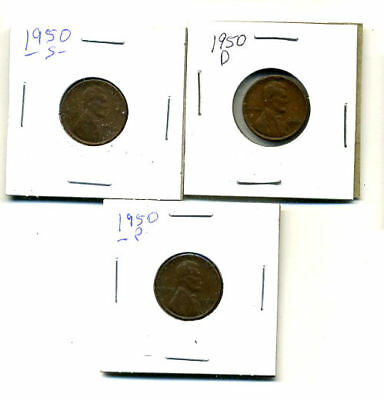 1950 P,d,s Wheat Pennies Lincoln Cents Circulated 2X2 Flips 3 Coin Pds Set#4222