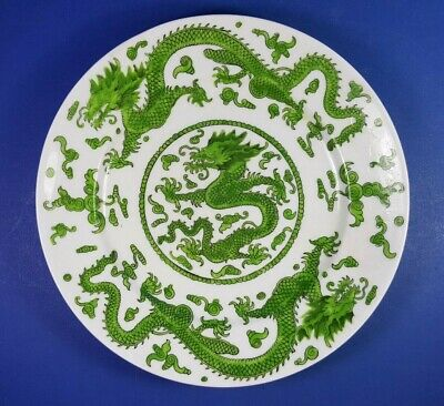 "Vintage Coalport China Green Dragon Design 9"" Plate Ad1750"