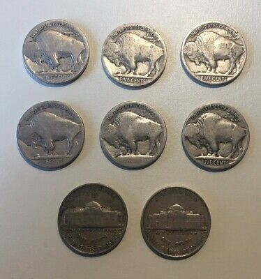 Lot of Old US Nickels (6 Buffalo and 2 Silver Wartime)