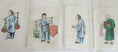 Fabulous Antique Chinese Hand Painted Watercolour On Rice Pith Paper Unframed